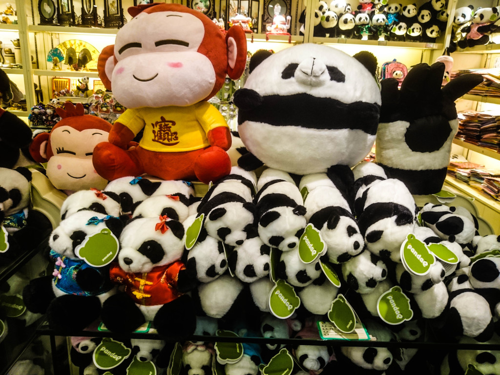 Cute pandas at one of the souvenir shops