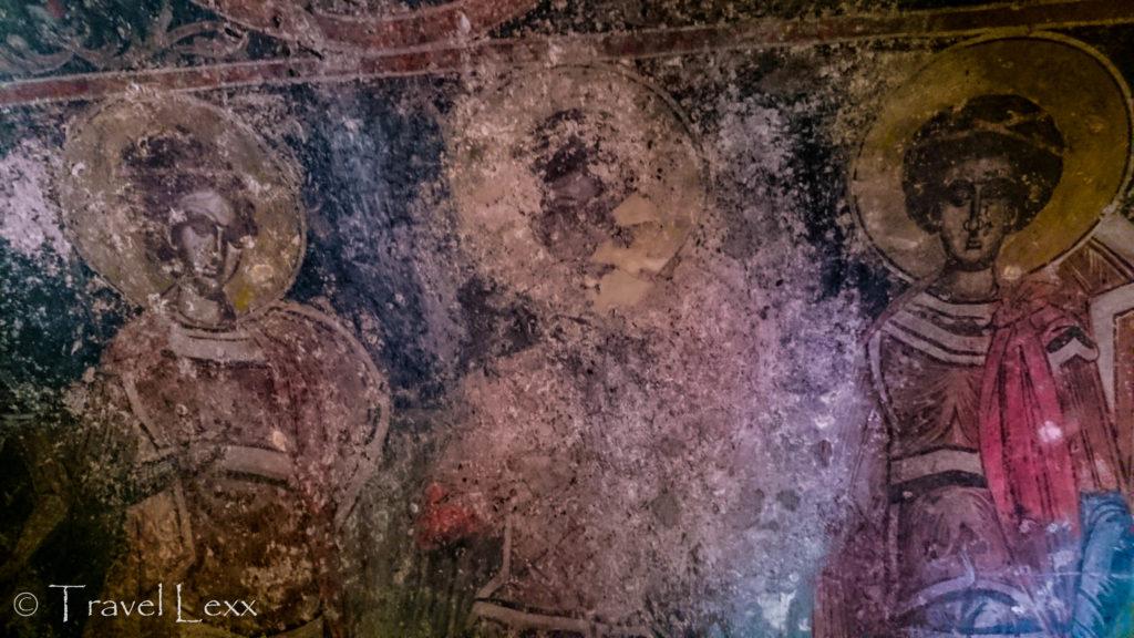 Faded frescoes in Praskvica Monastery