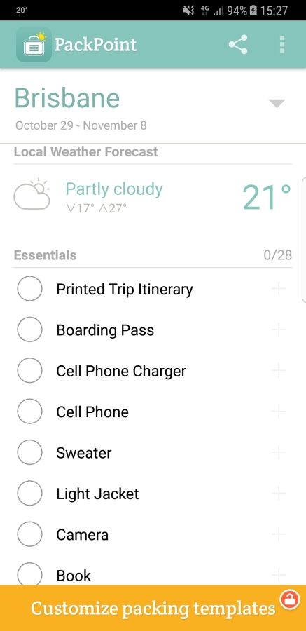 Travel Apps - Packpoint