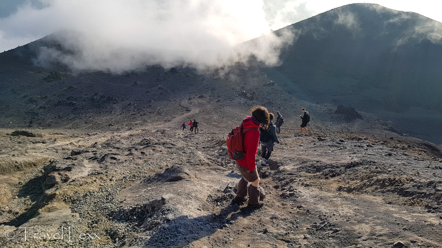 Hikers heading down from the summit of Mt Merapi in Java, Indonesia