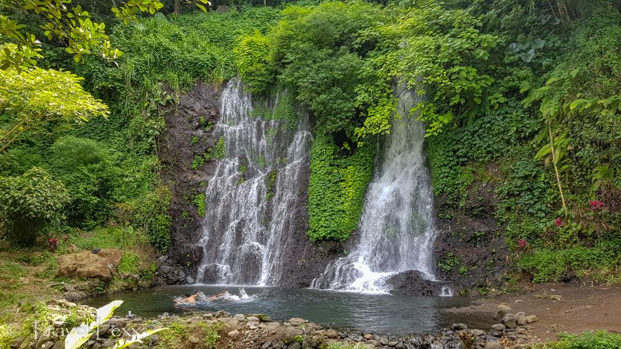 Cascading water at the Jagir Waterfall near Banyuwangi
