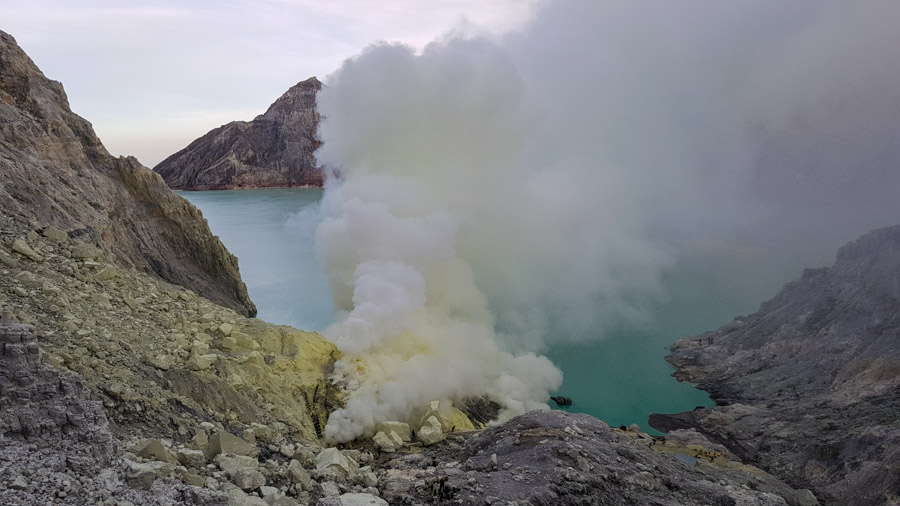 Sulphuric gases at the bottom of Kawah Ijen crater