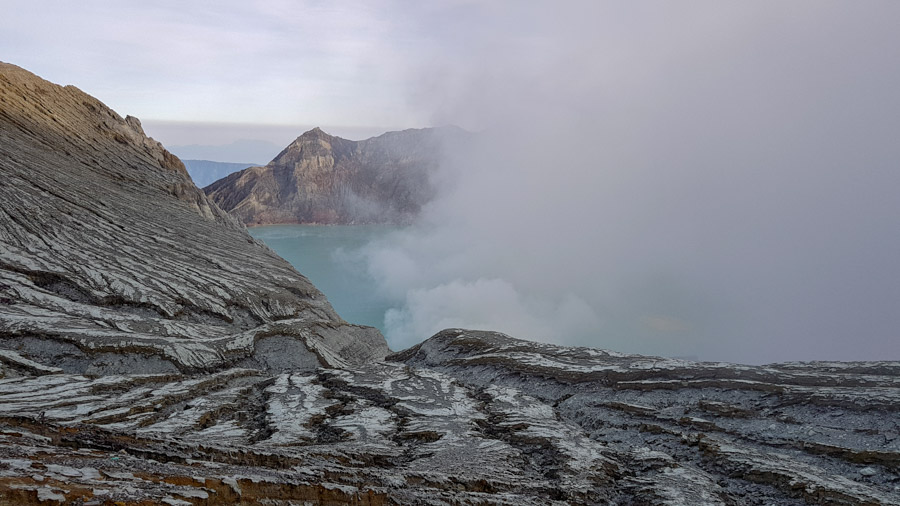 Smoke billows out of Kawah Ijen crater
