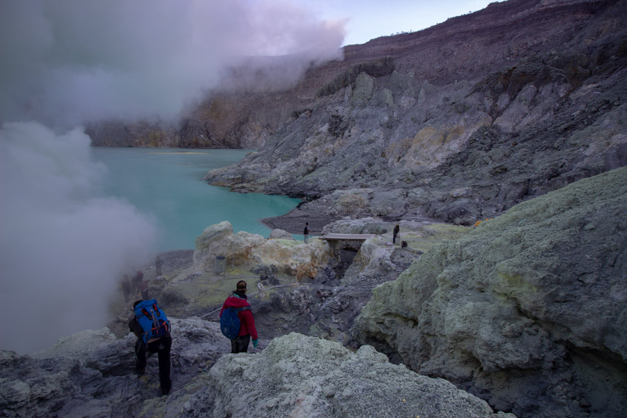 Kawah Ijen hike brings visitors inside the crater that can be explored