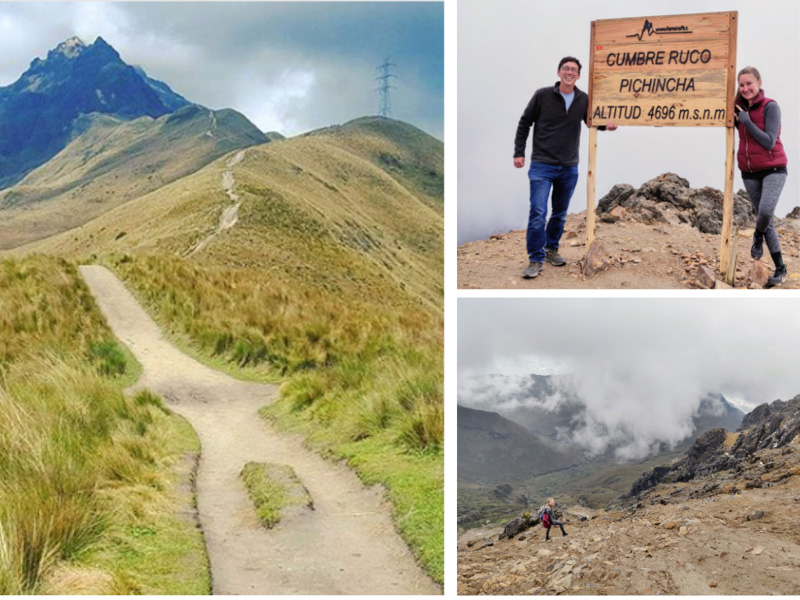 A collage of photos showing Pichincha Volcano, a couple posing with a sign and a hiking trail on the mountain