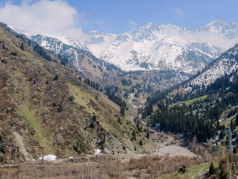 Valley and mountains near Medeu and Shymbulak hiking trails