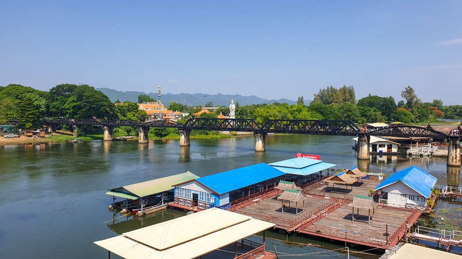 A bridge on the River Kwai and floating buildings