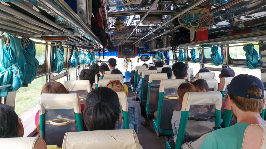 Passengers on the bus from Bangkok to Kanchanaburi