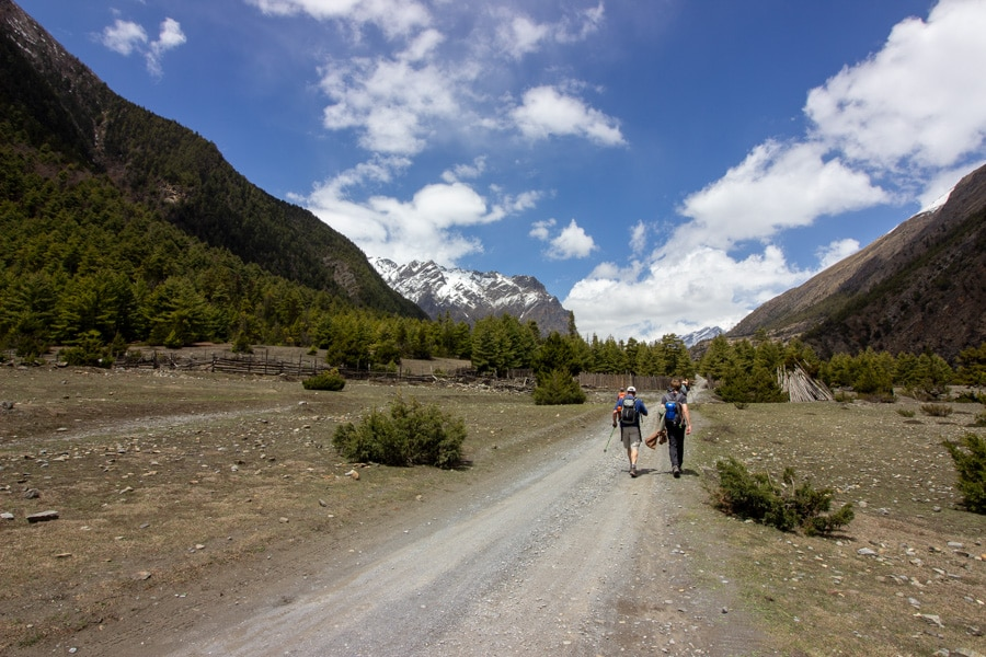 Hikers walking along a wide road between Dhukur Pokhari and Lower Pisang