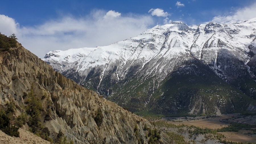 A view of snow-capped mountains along the Annapurna Circuit Trek