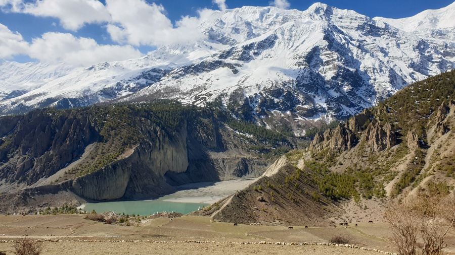 A green lake at the foot of snow-capped mountains near Manang