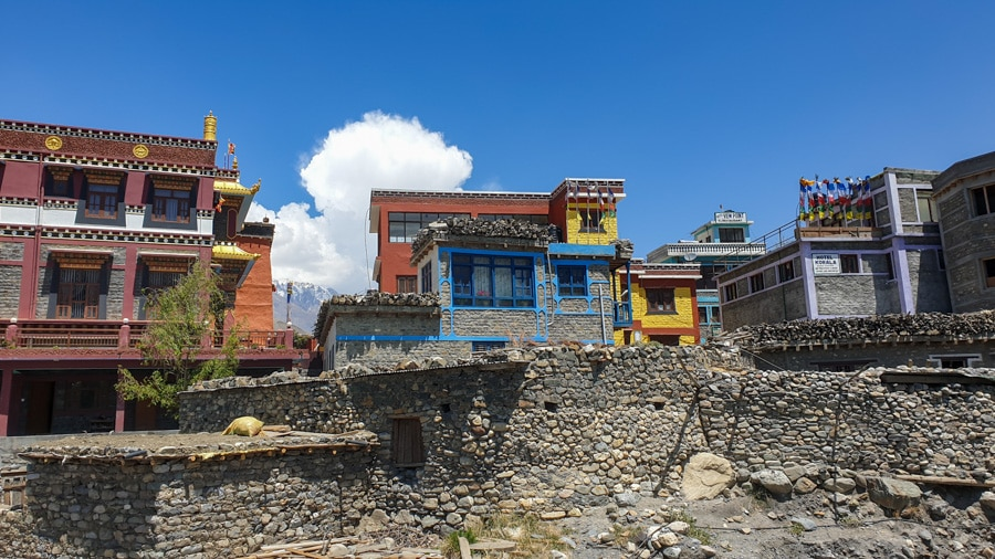 Colourful houses in Kagbeni