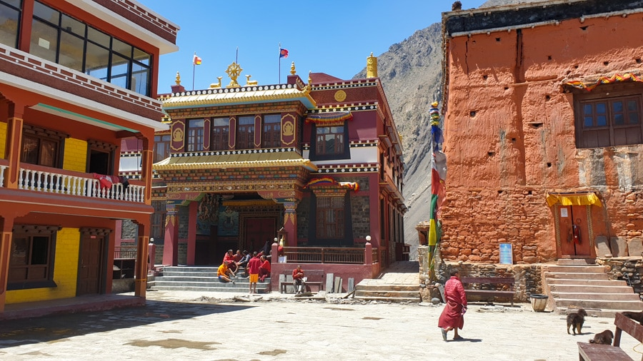 Colourful buildings of a Buddhist monastery in Kagbeni