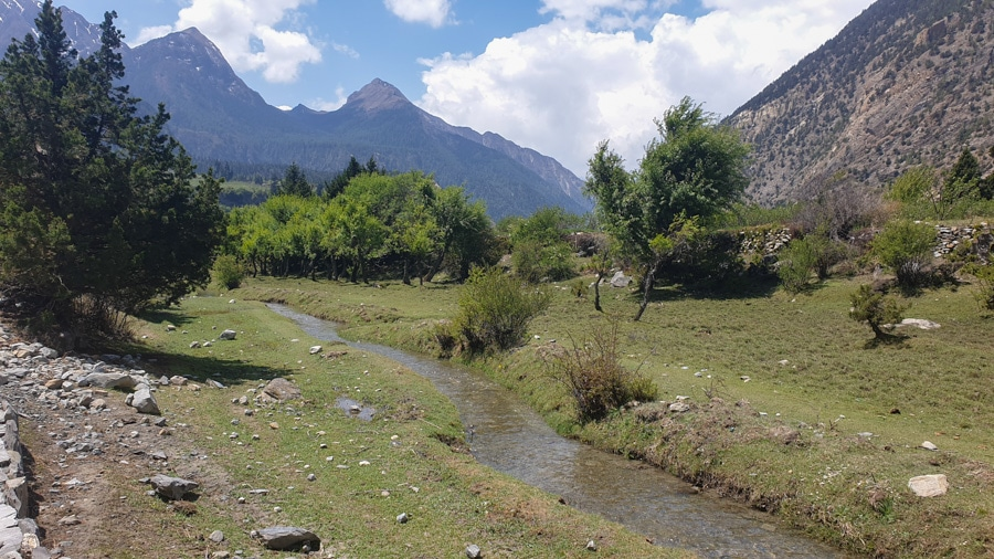 A small stream snaking through a green landscape alongside the trail from Jomsom to Tukuche