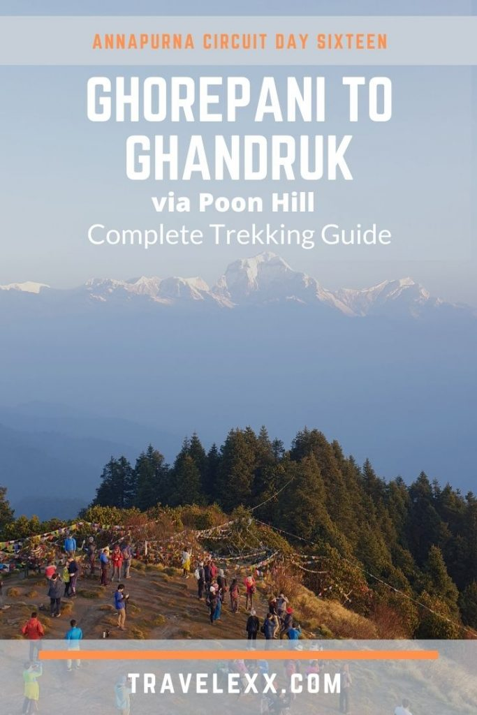 A pinnable image of mountain views from Poon Hill in Nepal
