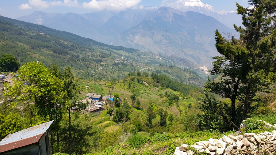 Views of villages nestled in the valley and the surrounding mountains