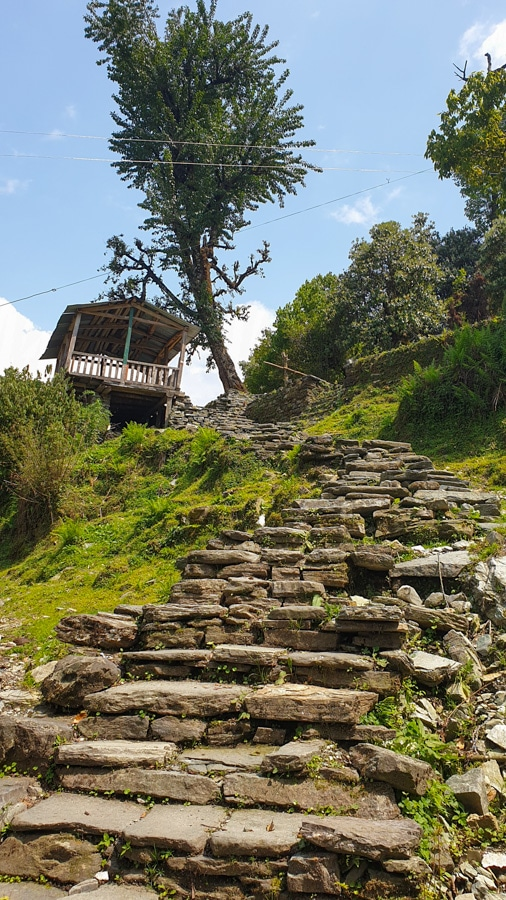 Stone steps leading up to a viewing platform at the top