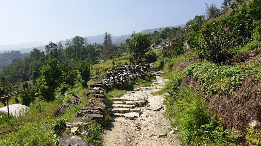 A winding path between villages