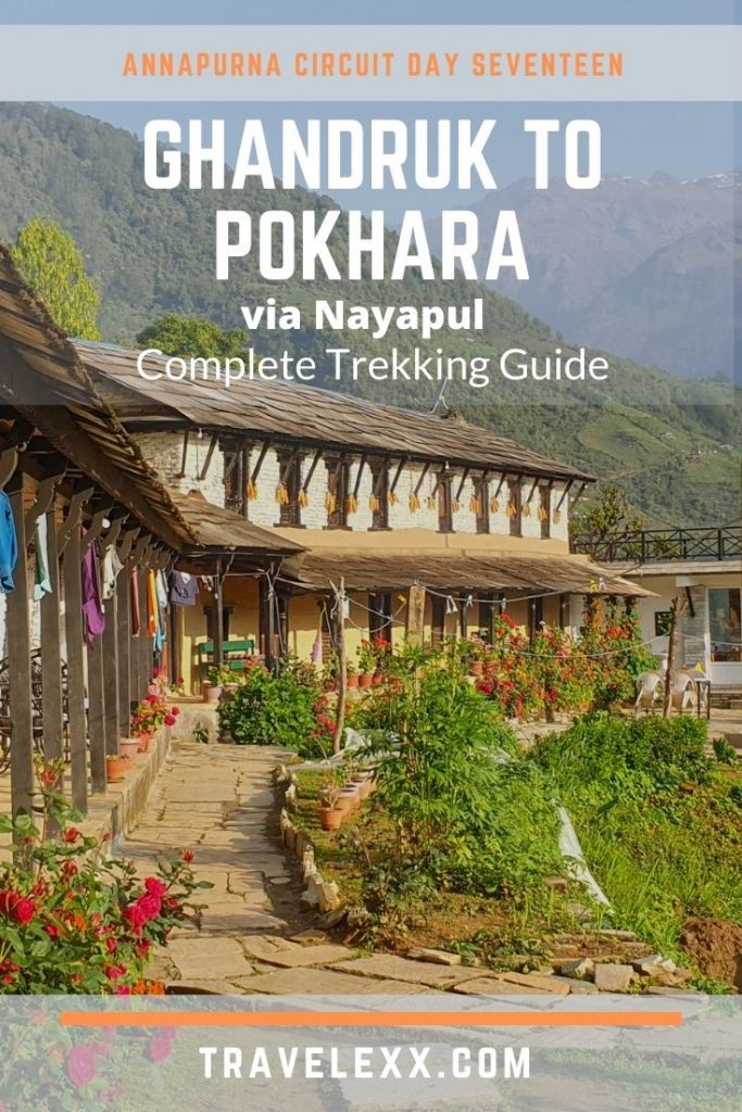 A pinnable image of a rustic guesthouse overlooking mountains in Ghandruk