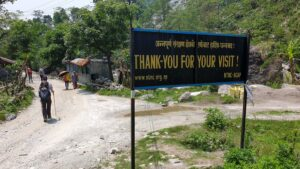A sign thanking visitors for visiting Annapurna Conservation Area