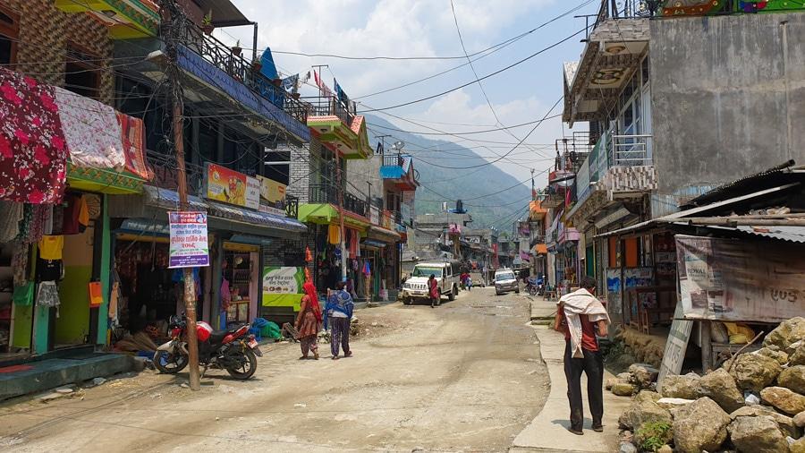 A main street of Nayapul village