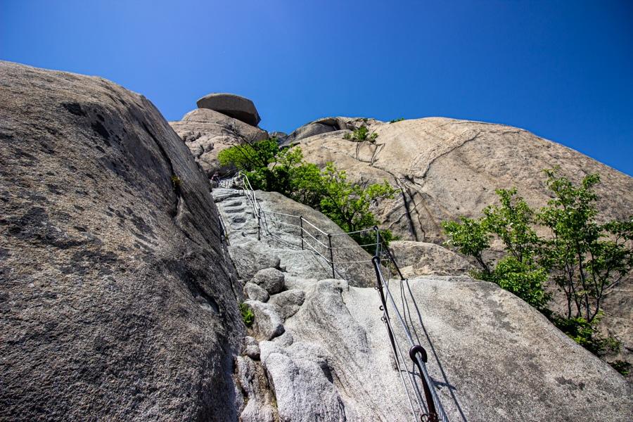 Steep approach to Baegundae Peak in Bukhansan National Park