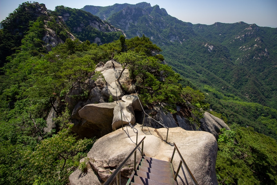 A narrow path over huge boulders in Bukhansan National Park